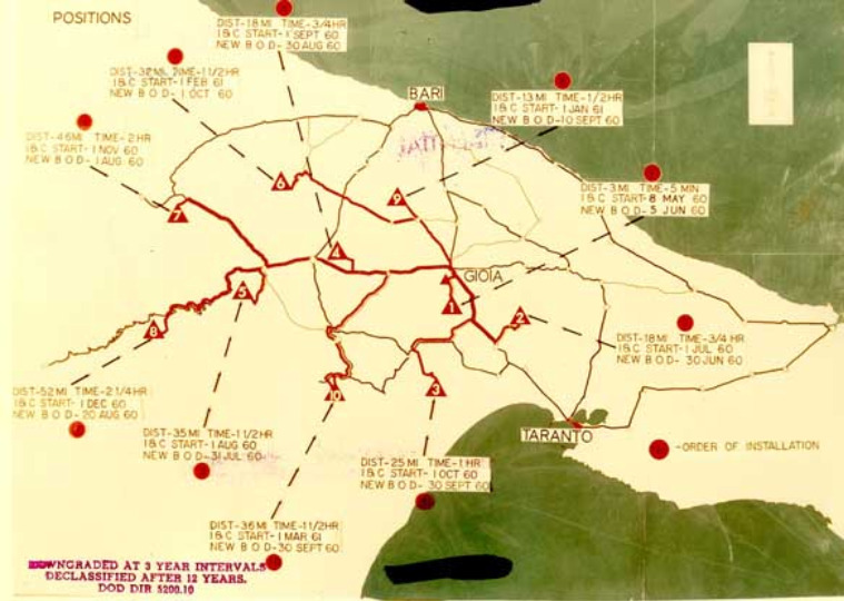 Mappa delle basi di lancio dei missili Jupiter