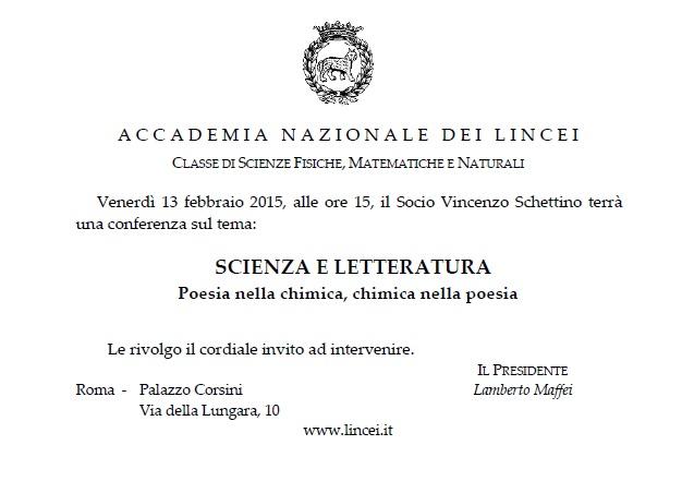 """invito alla conferenza """"Scienza e letteratura"""""""