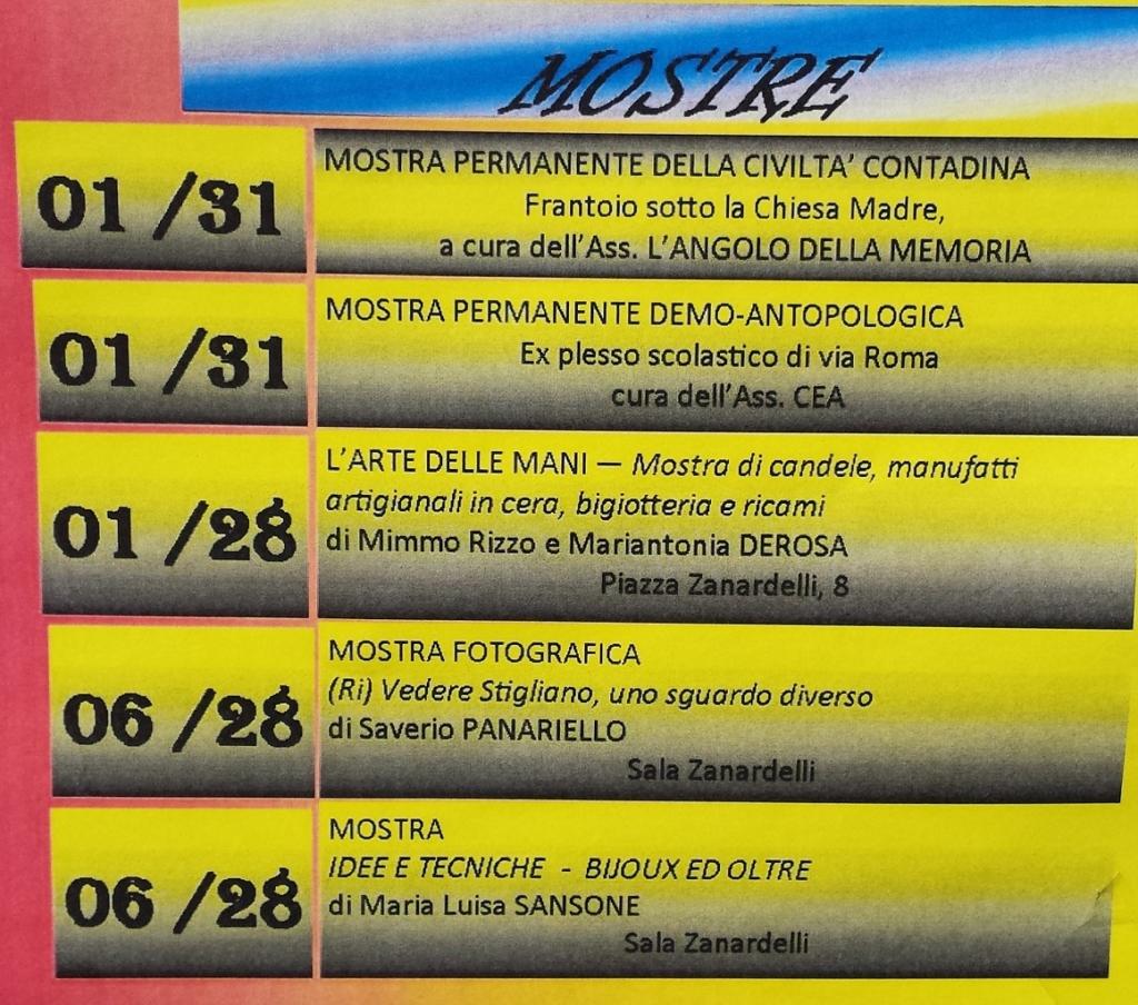Stigliano estate Mostre