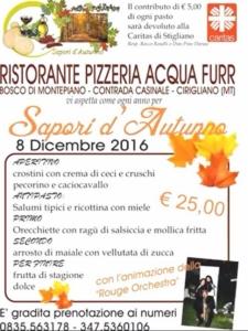 Acqua Furr pranzo solidale con i sapori d'autunno