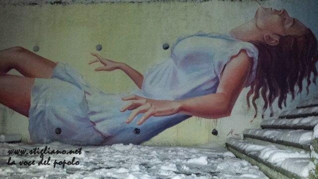 Stigliano (MT) rione Serra, il murales di Mino Di Summa