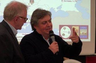 L'ideatore e direttore del progetto 'cultgenuss' Fausto Castellini e lo scrittore Giuseppe Colangelo