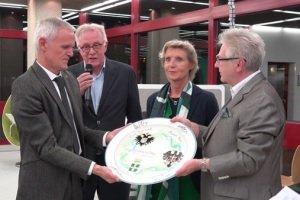 """Lo chef Sergio Dussin, il promoter Fausto Castellini, la direttrice Hannelot Vogt e il """"maestro dello zucchero"""" Georg Maushagen"""