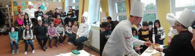 Momenti del laboratorio didattico dedicato alla favola di 'Hansel e Gretel' e alle gustose pietanze preparate dagli chef Enza Leone, il francese Jean-Marie Dumaine e l'austriaco Julien Reinisch